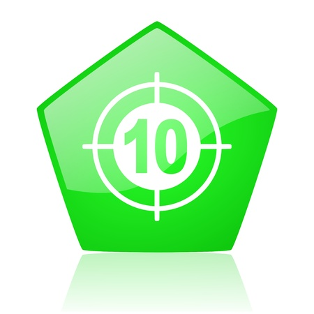 target green pentagon web glossy icon Stock Photo - 19228478
