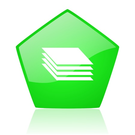 pentagon: layers green pentagon web glossy icon