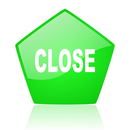 close green pentagon web glossy icon  photo
