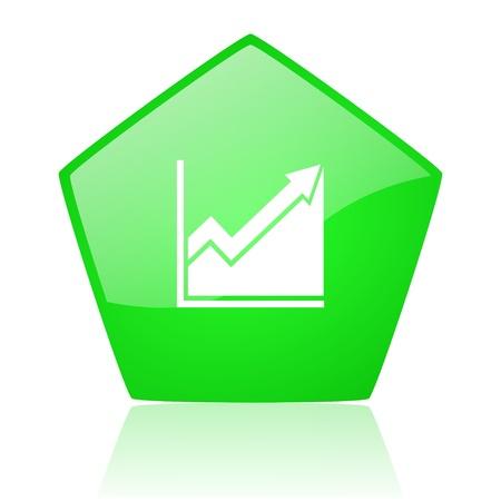 pentagon: histogram green pentagon web glossy icon