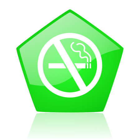 no smoking green pentagon web glossy icon  photo