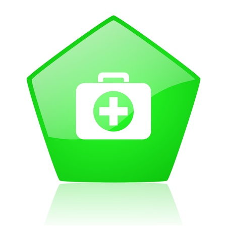 first aid kit green pentagon web glossy icon  photo