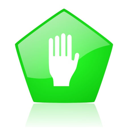 stop green pentagon web glossy icon Stock Photo - 19227647