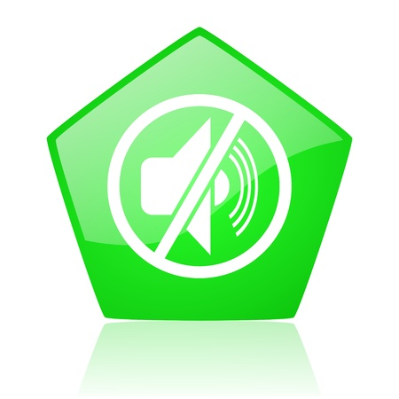mute green pentagon web glossy icon  photo
