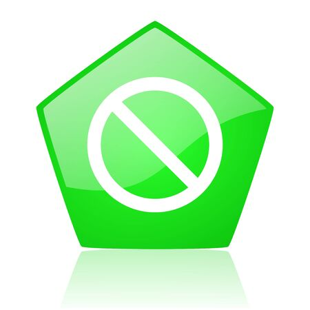 access denied green pentagon web glossy icon  photo