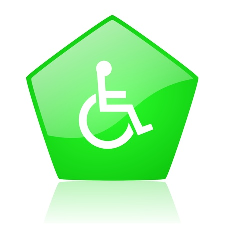 pentagon: accessibility green pentagon web glossy icon  Stock Photo