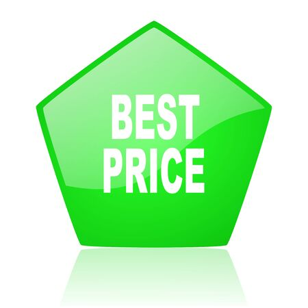 best price green pentagon web glossy icon