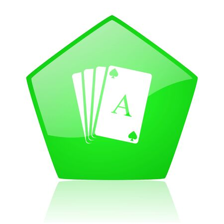 playing cards green pentagon web glossy icon  photo