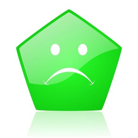 cry green pentagon web glossy icon Stock Photo - 19227864