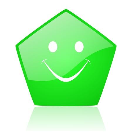 smile green pentagon web glossy icon