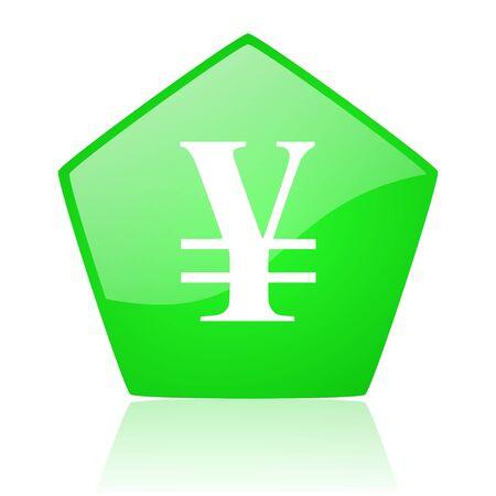 pentagon: yen green pentagon web glossy icon