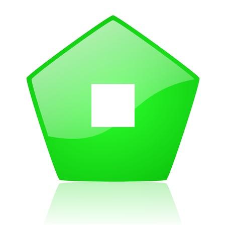 stop green pentagon web glossy icon  photo