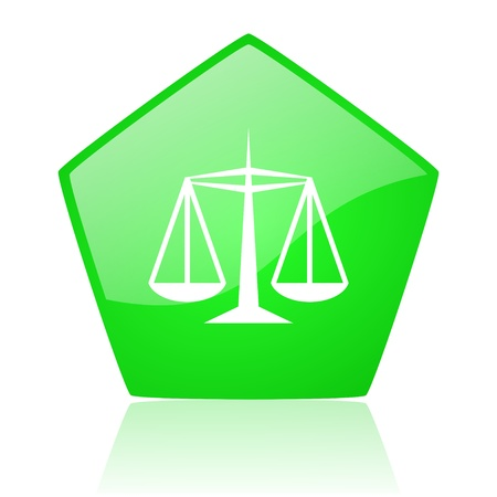 injustice: justice green pentagon web glossy icon  Stock Photo