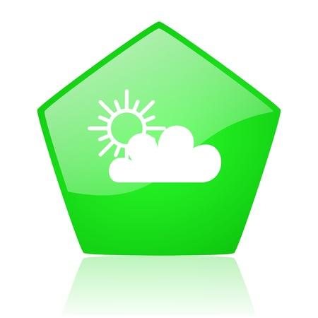 pentagon: weather forecast green pentagon web glossy icon
