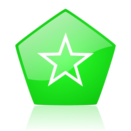 star green pentagon web glossy icon  photo