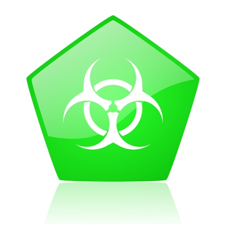 virus green pentagon web glossy icon
