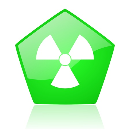 radiation green pentagon web glossy icon