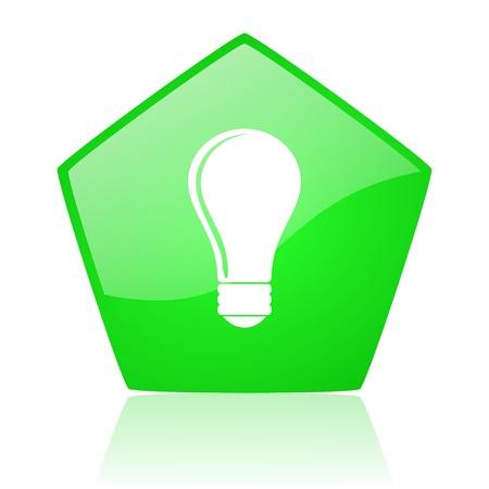pentagon: light bulb green pentagon web glossy icon