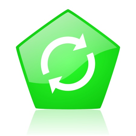 reload green pentagon web glossy icon  photo