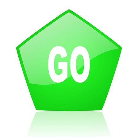 go green pentagon web glossy icon Stock Photo - 19227797