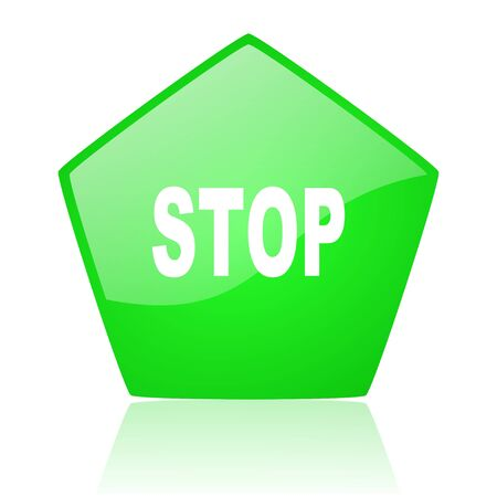 stop green pentagon web glossy icon Stock Photo - 19227870