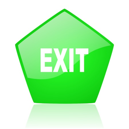 exit green pentagon web glossy icon
