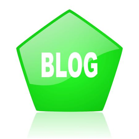 blog green pentagon web glossy icon  photo