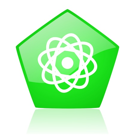 atom green pentagon web glossy icon Stock Photo - 19228538