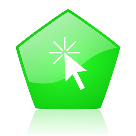 click here green pentagon web glossy icon  photo