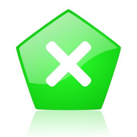cancel green pentagon web glossy icon Stock Photo - 19227766