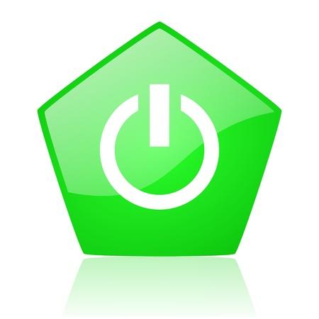 power green pentagon web glossy icon  Stock Photo