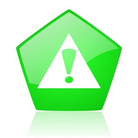 warning green pentagon web glossy icon  photo