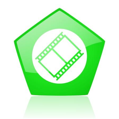 film green pentagon web glossy icon  photo