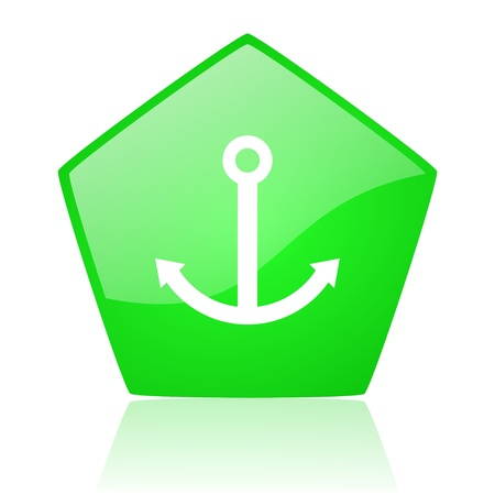 anchor green pentagon web glossy icon   Stock Photo