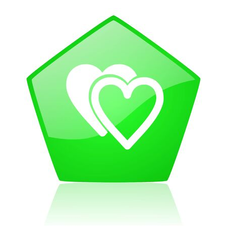 love green pentagon web glossy icon  photo