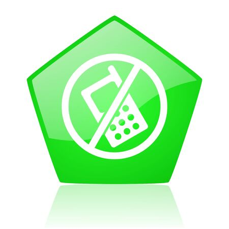 no phones green pentagon web glossy icon  photo