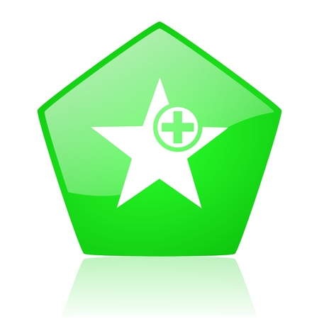 star green pentagon web glossy icon  Stock Photo