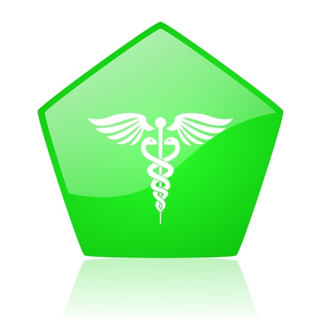 caduceus green pentagon web glossy icon  photo