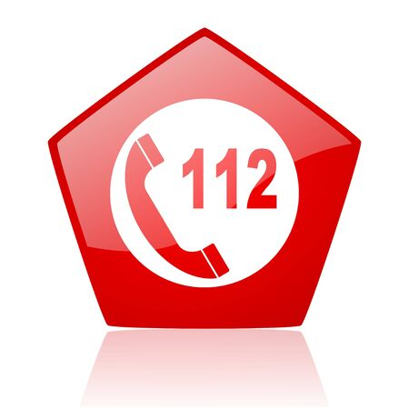 emergency call red pentagon web glossy icon  photo