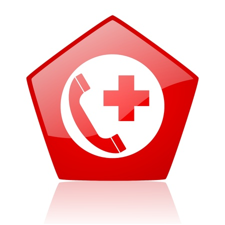 emergency call red pentagon web glossy icon Stock Photo - 19228481