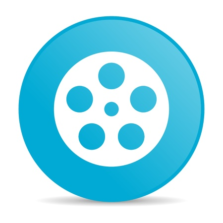 film blue circle web glossy icon  photo