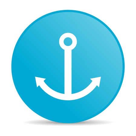 anchor blue circle web glossy icon  photo