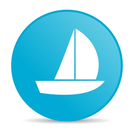 yacht blue circle web glossy icon  photo