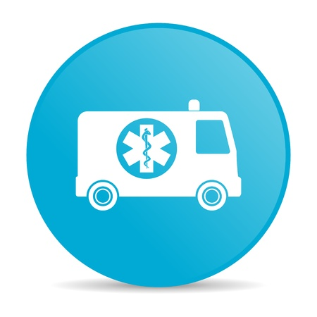 ambulance blue circle web glossy icon