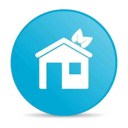 home blue circle web glossy icon  photo
