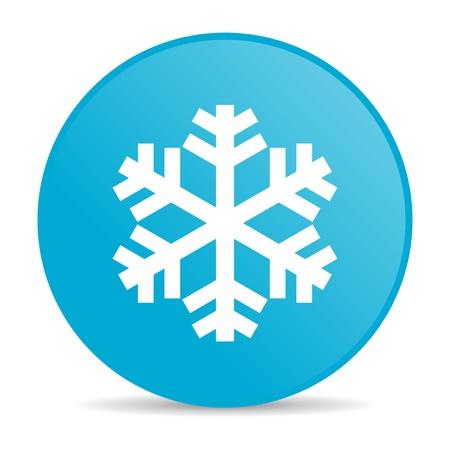 Schneeflocke blau Kreis Web glossy icon