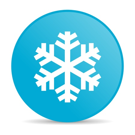 sneeuwvlok blauwe cirkel web glanzende pictogram