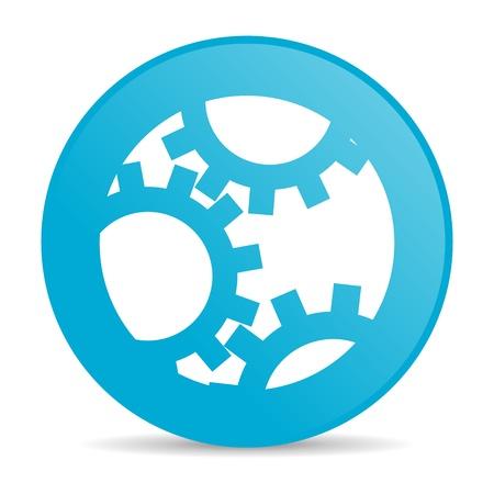 tandwielen blauwe cirkel web glanzende pictogram