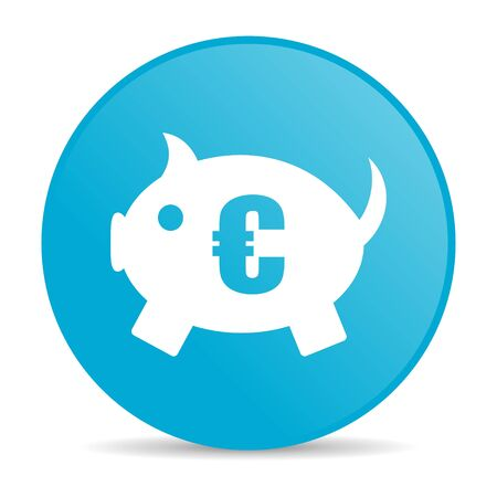 piggy bank blue circle web glossy icon  photo