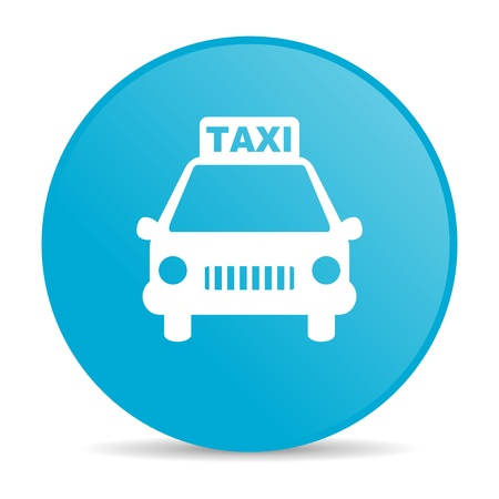 taxi blue circle web glossy icon  photo